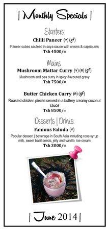 Mountain Inn - Indian Restaurant : Monthly Specials: June 2014