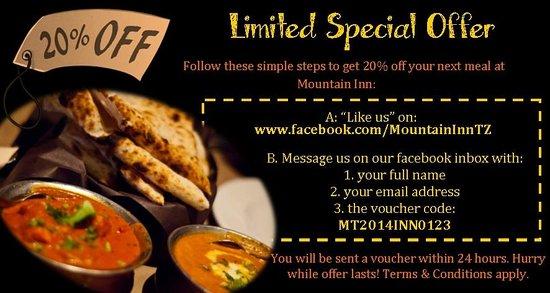 Mountain Inn - Indian Restaurant : 20% off your next meal!