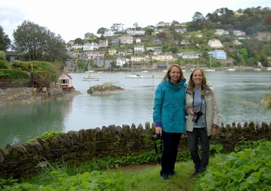 Unique Devon Tours: The sisters from Utah at Dartmouth, with the River Dart behind