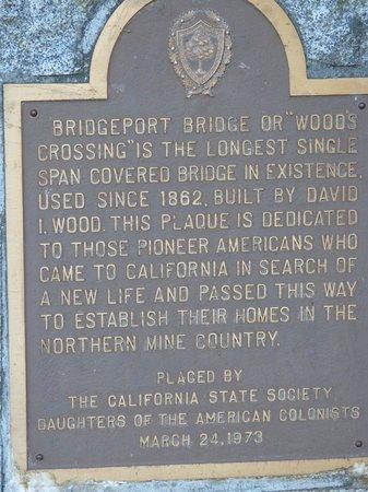 Historic Bridgeport Covered Bridge: State Plaque