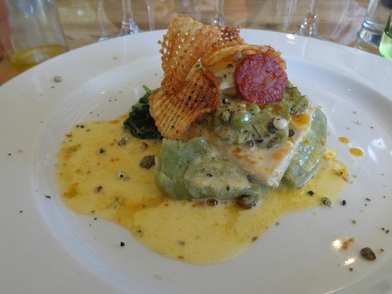 The Flagship: Angelfish filet with pea mash and homemade chips