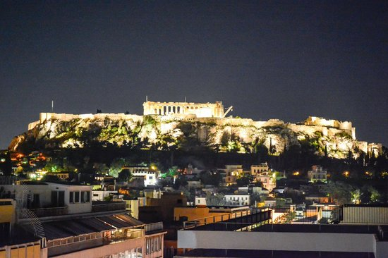 View of Acropolis from roof-top bar of Attalos Hotel