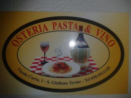 Osteria Pasta E Vino Carte De Visite Du Restaurant