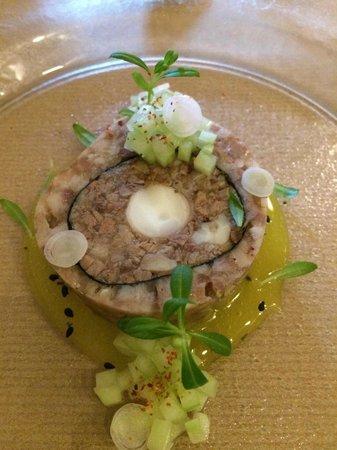 "Olimpia: ""Sushi Terrine"" Octopus & Pig's Head, lemon, tarragon"
