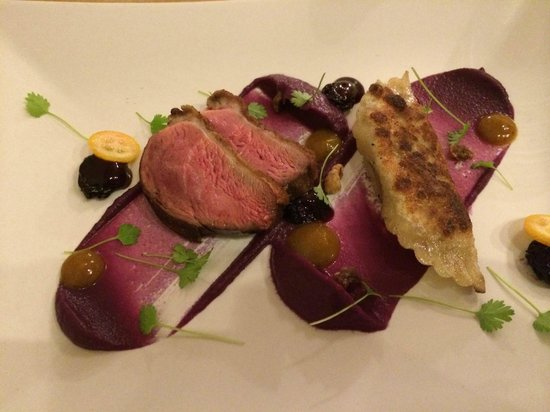 Olimpia: Duck Breast & Wonton, red cabbage puree, cherries, curry