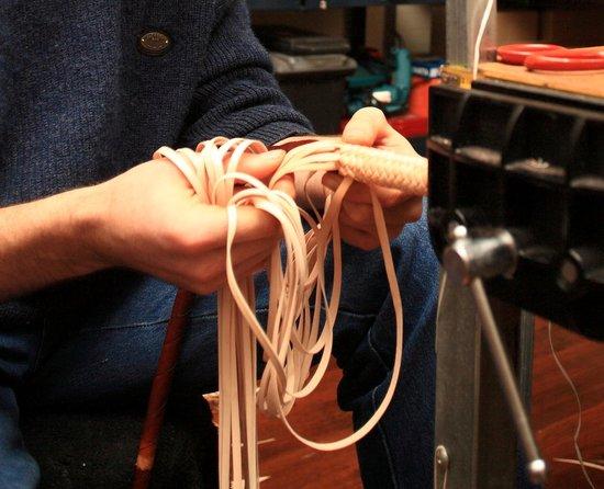 Simon Martin Whips & Leathercraft: Plaiting in progress.