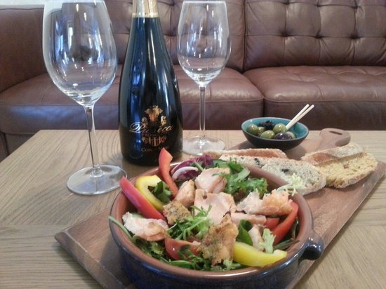The Steading Bistro: Delicious ginger, chilli & lime infused Hot Salmon Salad served with homemade olive and tomato b