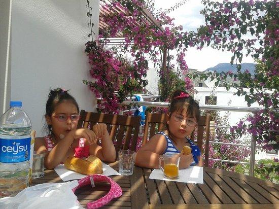 Milport Hotel: Ailemle begonvil çiçekleriyle dolu balkonumuzda aperatiflerimizi aldık.
