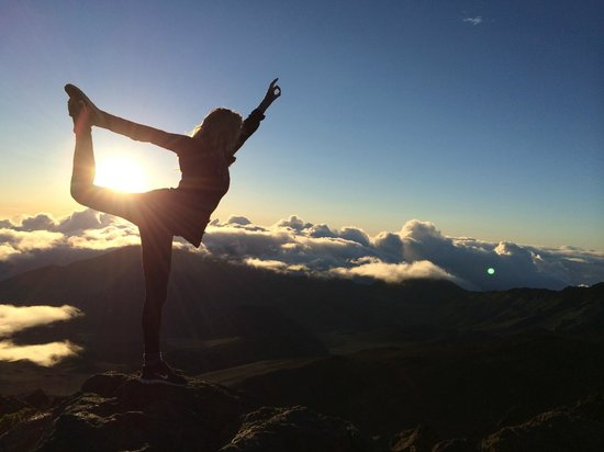 Haleakala Crater: Yoga above the clouds
