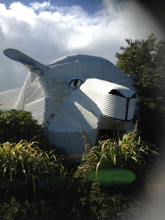 Dog and Sheep Shaped Corrugated Metal Buildings: the sheep