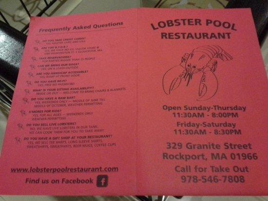 The Lobster Pool: Menu
