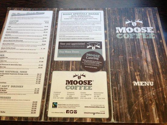 Moose Cafe Manchester Menu