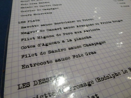 Chez Bruno: the menu