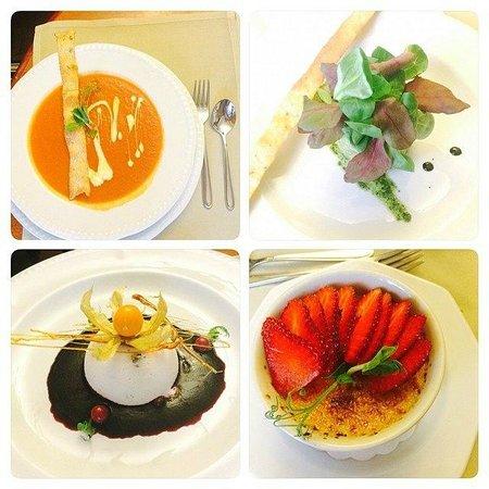 Ambiente restaurant: Томатный суп, Салат из лосося и авокадо, Тыквенное парфе, Крем-брюле.