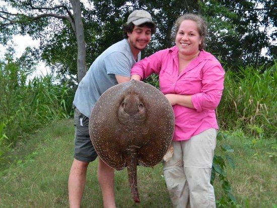 Otorongo Expeditions Jungle Lodge: Freshwater Stingray caught on the Amazon River