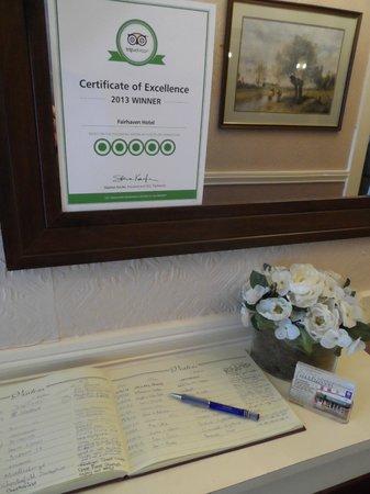 Fairhaven Hotel: TRIP ADVISOR EXCELLENCE AWARD
