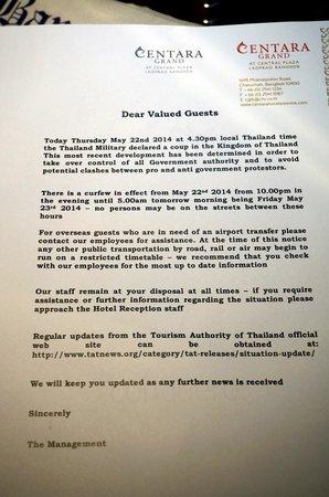 Centara Grand at Central Plaza Ladprao Bangkok : notice received