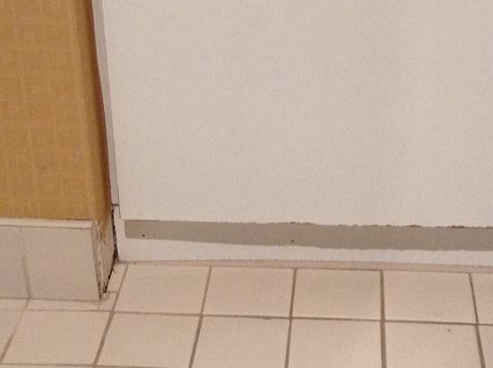 Days Inn by Wyndham Vancouver Downtown: bathroom cupboard and baseboards could use some tlc