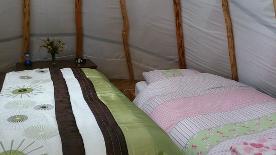 Ireland Glamping - Pink Apple Orchard: The Wood Man's Teepee - Made ready for a small family staying at Pink Apple Orchard