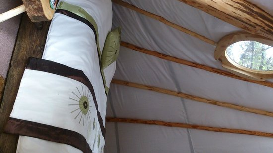 Ireland Glamping - Pink Apple Orchard: Interior to The Wood Man's Teepee