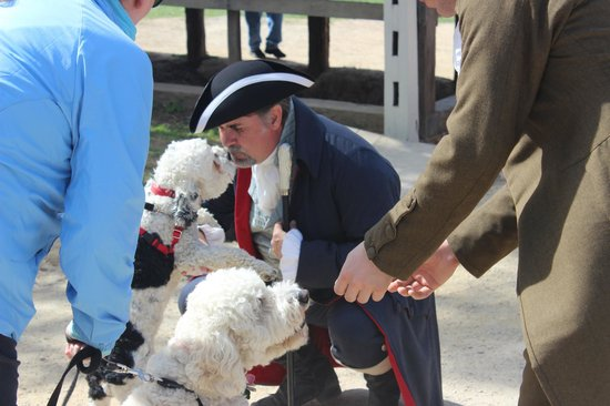 George Washington's Mount Vernon: Costumed docent with dogs, Mount Vernon Estate, April 2014