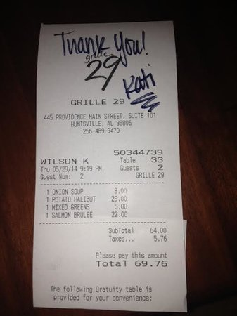 Grille 29: Our receipt