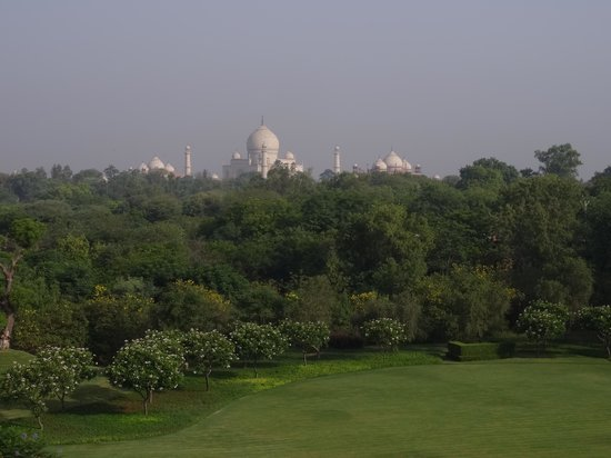 The Oberoi Amarvilas: View of the Taj Mahal from our balcony