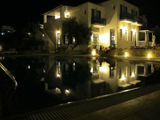 Vienoula's Garden: Hotel and pool by night.