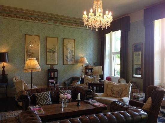 Ballyvolane House: The guest lounge - views of the garden, a warm fire and lovely drinks and snacks