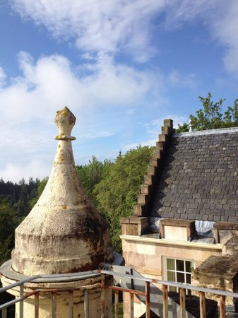 Assynt House: Blue skies over the turret.