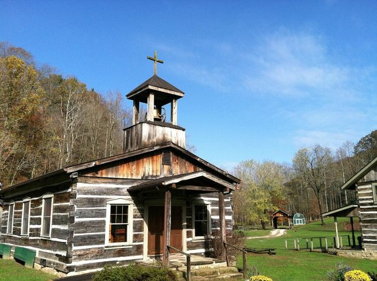 Heritage Farm Museum and Village: Church in the wide blue sky