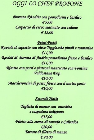 Brugherio, Italy: proposte fuori menu