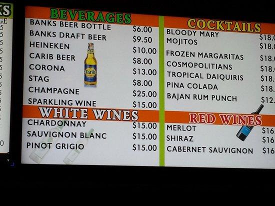 Courtyard by Marriott Bridgetown, Barbados: Hotel drink prices