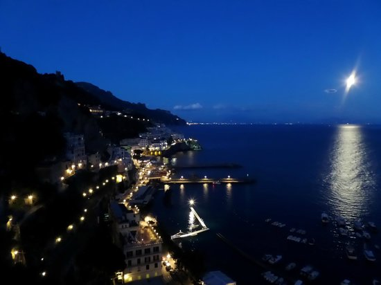 NH Collection Grand Hotel Convento di Amalfi: View of Amalfi from Convento During Full Moon