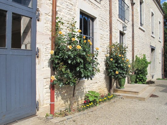 Les Jardins de Lois : Beautiful roses flank the entrance to the hotel