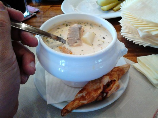 Russian Fishing Restaurant in Komarovo : A Finland style creamed fish soup