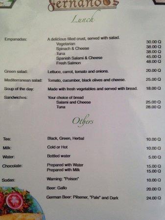 Fernando's Kaffee : Menu: Lunch & Non- Coffee drinks