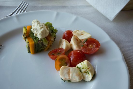 Agriturismo Marino - La Locanda del Notaro: Square of steamed vegetables in aspic; Caprese salad