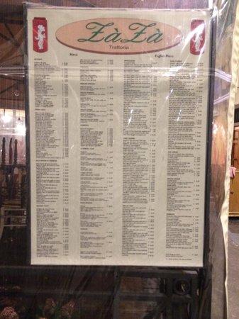 Il menu'!!! - Picture of Trattoria Za Za, Florence ...