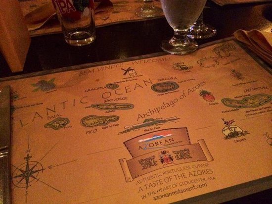 Azorean Restaurant and Bar: Map Placemats are a nice touch