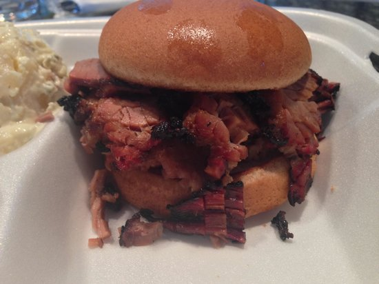 Hail's Holy Smoked BBQ & More: Brisket sandwich was piled high