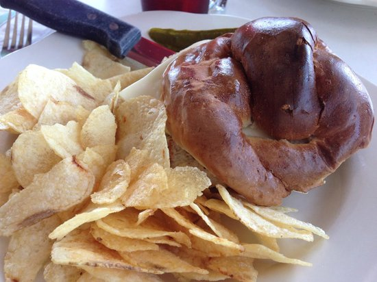 Route 30 Diner: Chicken with cheese salad on a pretzel bun