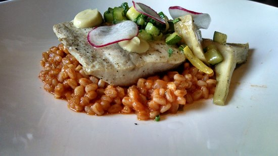 Burwell's Stone Fire Grill: Market fish with farro and fresh vegetables