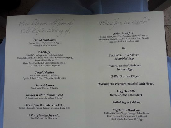 Coombe Abbey Hotel: Breakfast menu