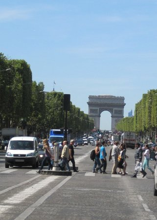 Champs-Elysees: looking down the Champs with the manicured trees