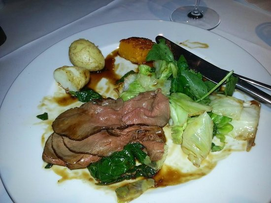Percy's Hotel: The organic lamb with fresh picked greens.