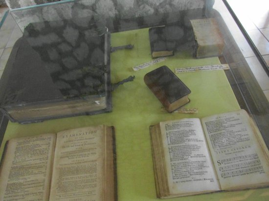 Protestant Church: interesting Bible collection under glass inside the church
