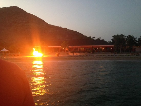 Carambola Beach Club: View from the catamaran that brought us to dinner.