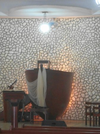 Protestant Church: pulpit is boat with fishing net draped