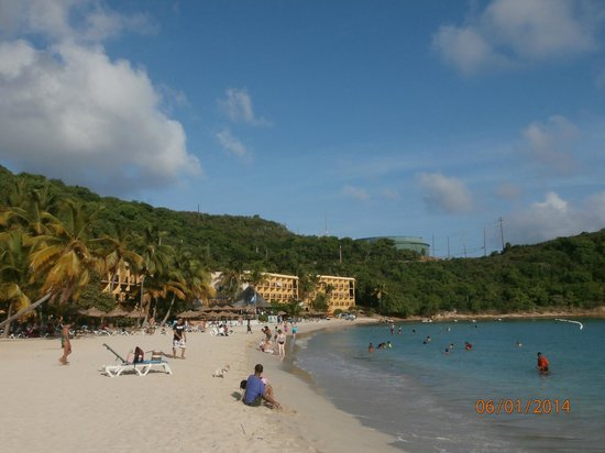 Island Beachcomber Hotel: looking down the beach, a Best Western for twice the price